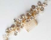 SALE / Crystal & Pearl Hair Comb / DIY Bride / Gold Wedding Hair Accessory