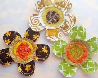 Sewn Petal Flower Fabric Fall Appliques Set of Three