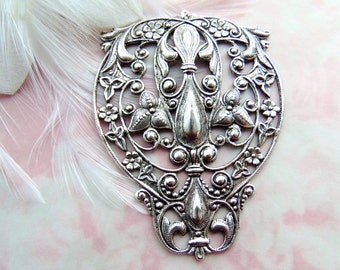 SILVER (2 Pieces) Large Crest Fleur De Lis Filigree Stampings - Jewelry Antique Silver Findings (FC-9) #