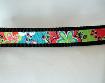 Mod Flowers - Large Dog Collar - 1 inch wide - ready to ship