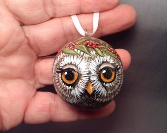 Brown Owl Christmas Ornament Hanging Ball Handpainted