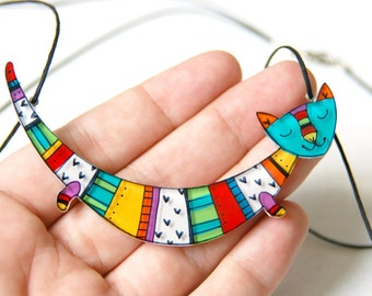 Cat statement necklace, illustrated cat jewelry, colorful gift for her, cute acrylic cat necklace