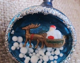 Vintage 1960's Santa And Reindeer Diorama Blue Glass Christmas Ornament, Made In Japan, Ships Worldwide