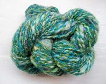 Handspun art yarn, wool, curls, kid mohair, silk, Angelina sparkle, green by SpinningStreak