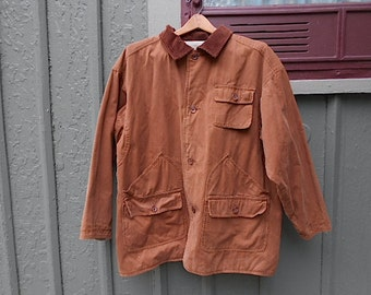Vintage canvas barn chore coat, hunting jacket style w/ game pocket, reversible - brown to putty tan - men women unisex