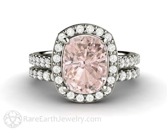 Morganite Engagement Ring Cushion Pave Diamond Halo Wedding Set 14K or 18K Gold Pink Stone Ring