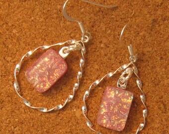 Pink Dichroic Earrings - Chandelier Earrings - Fused Glass Earrings - Dichroic Jewelry - Teardrop Earrings - Fused Glass Jewelry
