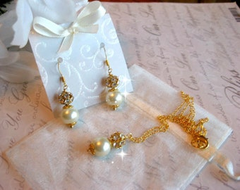 Rhinestone and Pearl Gold Filled Necklace and Earring Set - Personalized Bride or Bridesmaid Jewelry - Wedding Jewelry
