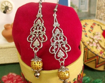 Portuguese antique silver filigree style earrings