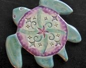 Ceramic Sea Turtle wall hanging for home or garden