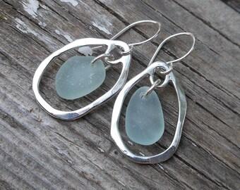 Light Blue Sea Glass Organic Earrings