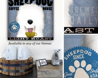 Old English Sheepdog dog coffee company art graphic art on gallery wrapped canvas gemini studio stephen fowler