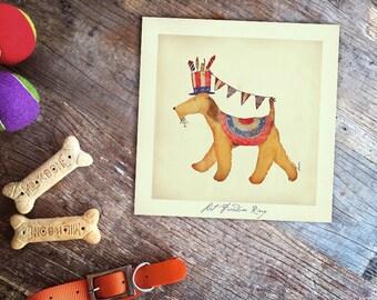 Airedale Terrier dog fourth of july patriotic fireworks artwork illustration giclee print