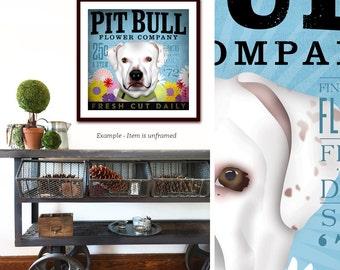 Pitbull pit bull terrier dog flower company artwork illustration giclee archival signed artists print  by stephen fowler