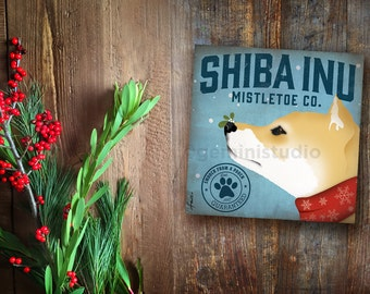 Shiba Inu Dog Mistletoe Company graphic illustration on canvas winter holiday art by stephen fowler