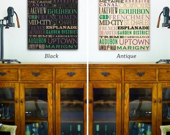New Orleans Streets Typography handmade graphic art on gallery wrapped canvas by stephen fowler