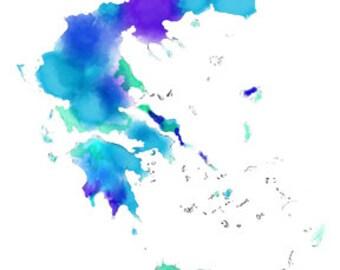 Digital art image download printable Greece map wall art decor