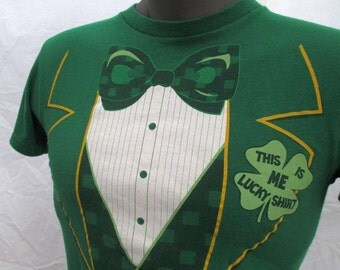 Vintage Irish Tshirt formal dress 80s Vintage Green St. Patricks Day Lucky Shamrock T shirt Leprechaun Vest Bow tie Tuxedo tshirt  S