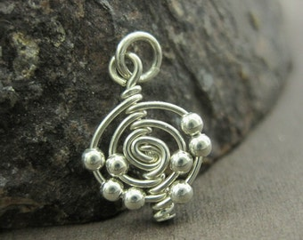 Atomic Elements Charm - Atom Charm Wire Wrapped Sterling Silver Science Jewelry