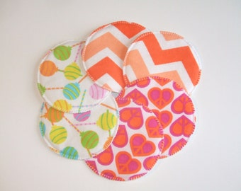 Nursing Pads, Orange Prints, Print / White Reversable Cloth Breast Pads, Reusable and Washable 3 Pair