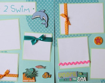 LOVE 2 SWIM 12x12 Premade Scrapbook Pages -- SwiMMinG