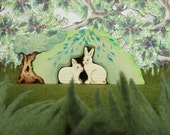 Waldorf toys, Bunnies with their own flowery hiding hill, 3 Pc Set Eco-friendly Gift Oddity