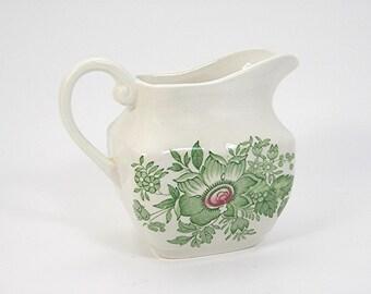 Creamer Pitcher, Enoch Wedgewood, KENT Pattern, Made in England, Vintage Tea or Coffee Kitchen Dinnerware, Green on Creamy White