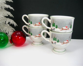"Sango China Mugs ""Silent Night"" Set of 4 Pedestal Cups Vintage 1980s, Joan Luntz Design, Coffee, Cocoa, Eggnog, Christmas Holidays"