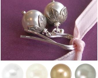 Flower bud pearl earrings, silver bridesmaid earrings, custom color Swarovski Crystal pearls, white pearls, ivory pearls, bridesmaid gift