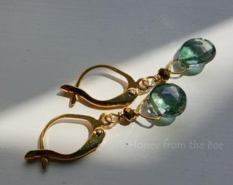 Envy - Green Amethyst Earrings - small gemstone earrings