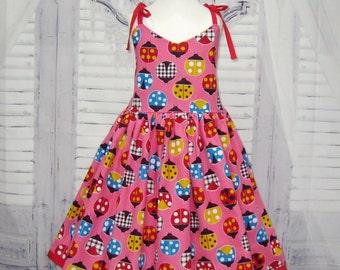 SALE Ladybugs Girl Pink Dress, Little Girl Dress, Pink Girl Dress, Lady Bug Girl Dress, Toddler Pink Dress, Infant Dress, Pink and Red Dress