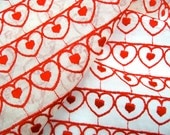 "Hearts Fabric - Vintage Embroidered Voile - 37"" x 38"""