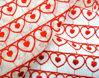 """Hearts Fabric - Vintage Embroidered Voile - 37"""" x 38"""""""