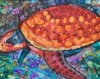 original art  collage alcohol ink colorful sea turtle  wall decor framed 20x24