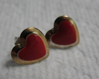 Red Enamel Gold Tone Heart Pierced Earrings