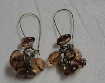 Brown Acrylic Beaded Pierced Earrings