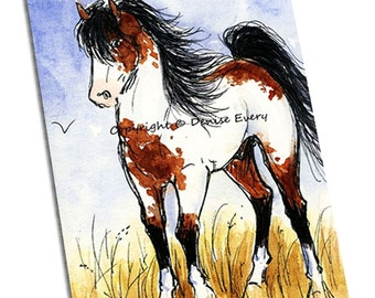 Horse Art ACEO Bay Pinto American Mustang Stallion Equine Wild Horse Art ACEO ATC Print Western horse artwork horse print