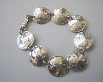 Coin bracelet-Silver Mercury linked dime bracelet-nicely domed-free shipping