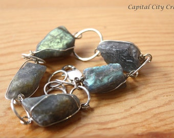 Raw Labradorite Chunk Bracelet, Rustic Raw Gemstone Bracelet, Chunky Rough Labradorite Crystal Jewelry