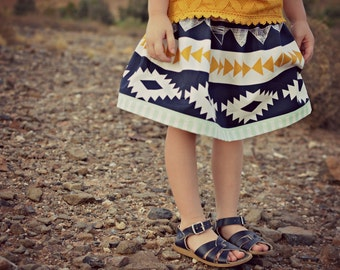 Skirt baby girl boho toddler Aztec mustard yellow navy blue mint baby shower gift southwest photo shoot, birthday, coordinating sisters