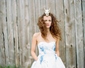 DEPOSIT listing for April - WaterColor Handpainted Floral Print Wedding Gown with Train