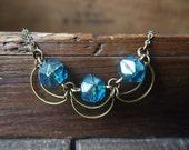Czech glass crescent moon necklace // N079