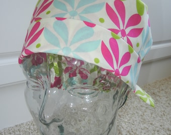 Tie Back Surgical Scrub Hat with Fan Flower