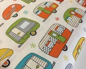 Vintage Camper fabric, Metallic fabric, Silver fabric, Camper, Camping, Cotton fabric by the yard, Campers in Ivory, Choose your cut