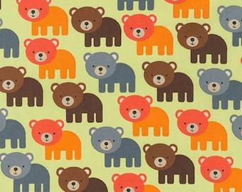Bear Fabric, Boy fabric, Nature, Boy Nursery, Woodland Pals fabric by Ann Kelle for Robert Kaufman, Bears in Bermuda, Choose your cut