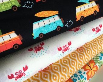 Beach fabric, Beachy fabric, Beach Decor, Surf, Beachy Keen fabric bundle of 4, Robert Kaufman, You Choose the Cut. Free Shipping Available