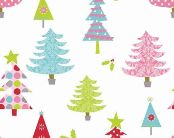 SALE fabric, Free Shipping Available, Christmas Fabric, Christmas Tree Fabric by Riley Blake - Modern Tree in White, Choose the Cut