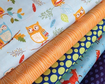 Fox Fabric, Owl Fabric, Forest Fellows fabric bundle by Sea Urchin Studio, Bundle of 5 fabrics, You Choose the Cut. Free Shipping Available