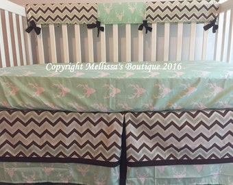 Rustic Deer & Chevron Mint Green and Brown Baby Nursery Crib Bedding Set made with Designer Fabrics MADE TO ORDER