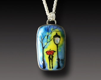 Enameled Fused Glass Pendant Sterling Silver  Pendant Handpainted